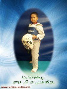 پرهام حیدرنیا در باشگاه تکواندو شهرک غرب تهران کانون قدس ۱4 آذر ۱۳۹۶